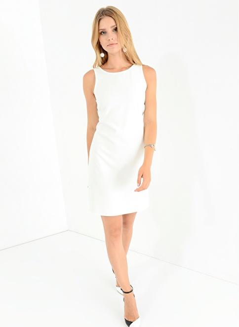 People By Fabrika Sırtı Tül Detaylı Elbise Beyaz